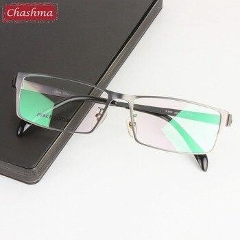 fc8355705c225 Chashma marca Gafas señores Gafas de titanio puro marco ancho Opticos Gafas  hombres de gran tamaño