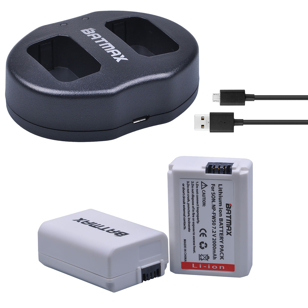 2000mAh NP-FW50 NP FW50 Battery +USB Dual Charger For Sony Alpha A6500 A6400 A6300 A7 7R A7R A7R II A7II NEX-3 NEX-3N NEX-5