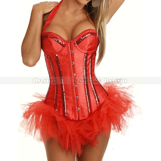 Red Sexy Halter Sequins Overbust   Corset   Lace Up   Bustier   + Red TuTu Skirt S M L XL 2XL