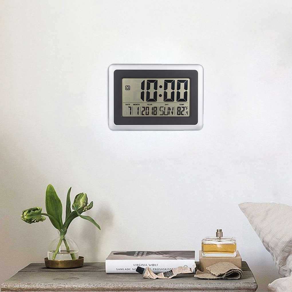 LCD Digital Large Wall Clock Thermometer Desk Calendar Time Alarm Electronic Indoor Home Temperature Meter