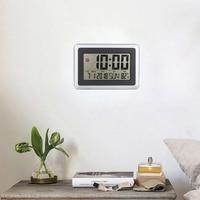 ЖК-цифровые большие настенные часы с термометром Настольный календарь Время Будильник электронный комнатный домашний измеритель температ...