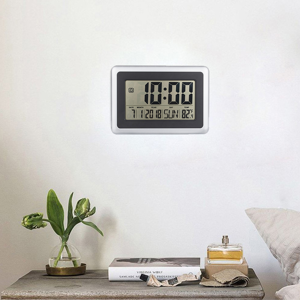 LCD Digital Large Wall Clock Thermometer Desk Calendar Time Alarm Electronic Indoor Home Temperature Meter disun 3320 3w 2 1 ch 4 lcd sensing speaker w fm temperature time alarm clock blue white