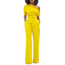 Jumpsuit Womens Solid Color Oblique Collar Button Piece Wide leg Pants Casual Belt