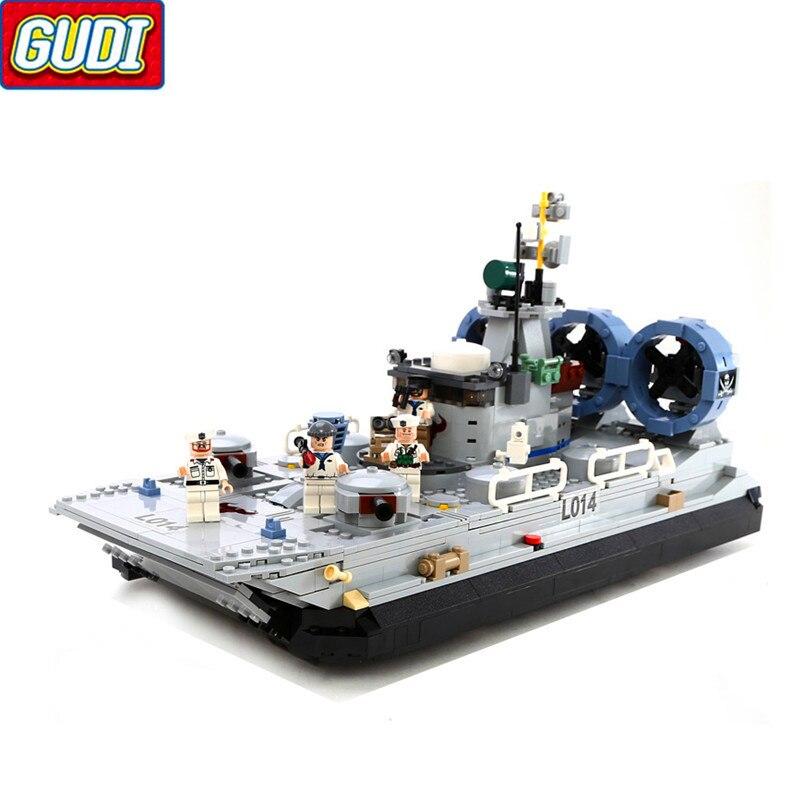 GUDI 8027 militaire Marine flics aéroglisseur navire de guerre blocs de construction brique Compatible LegoIN technique Playmobil jouets