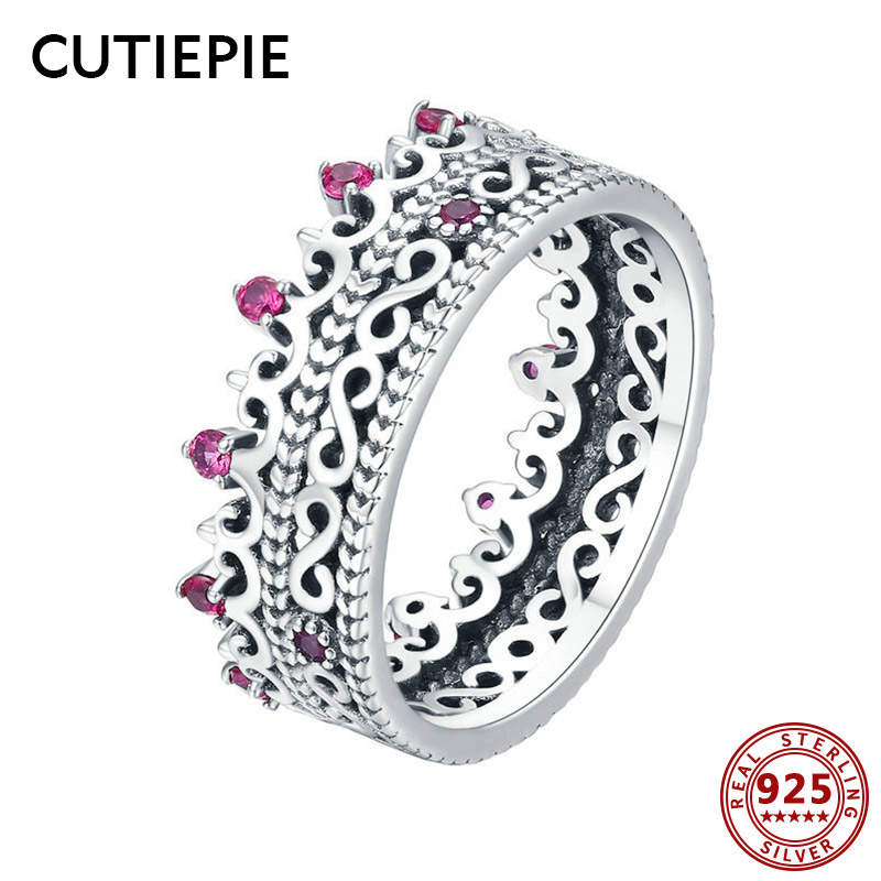 Cutiepie Elegant Actual 925 Sterling Silver Hole Lace Crown Rings For Girls Luxurious Cz Pave Setting Finger Rings Jewellery Presents