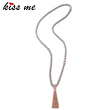 KISS ME Brand Long Beads Chain Necklaces Pendants New Trending White Grey Simulated Pearls Tassel Necklace