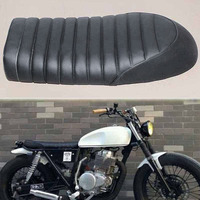 Durable Motorcycle Soft Black Vintage Flat Brat Styling Cafe Racer Seat Saddle for Honda CB Yamaha SR