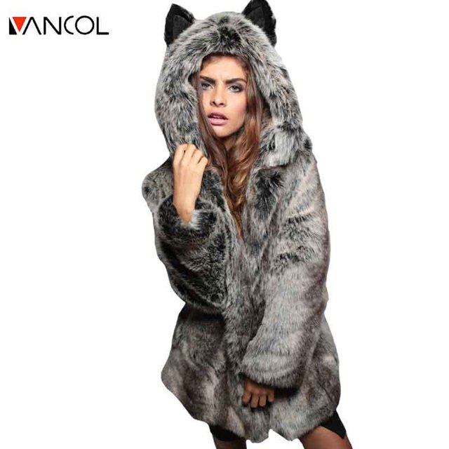Vancol 2016 Casual Winter Female Cute Cat Ear Black Faux Rabbit Fox Fur Coat Hooded Women Fur Jacket White pellicce del faux