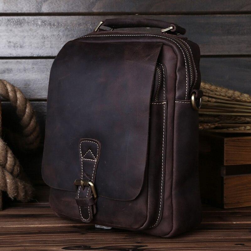 Genuine Leather Men's Briefcase Messenger Bags Business Handbags Man Cross-body Leather Vintage women Shoulder Bag 5066 15%