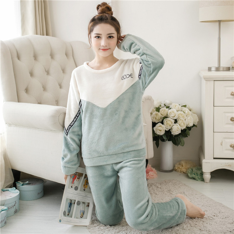 Women   pajamas     set     Pajama   Female Winter Thick Flannel Cute Cake Print Warm   Pajama     Set   Long Sleeve Full Trousers Two Piece 2018 To