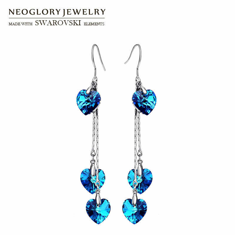 Neoglory Austria Crystal Long Drop Earrings Blue Heart Shaped Alloy Plated  Romantic Fashion For Women Love 2997d47bb3f8