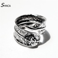 Genuine100 925 Sterling Silver Ring Men Feather Cross Open Rings For Men Women High Quality Vintage