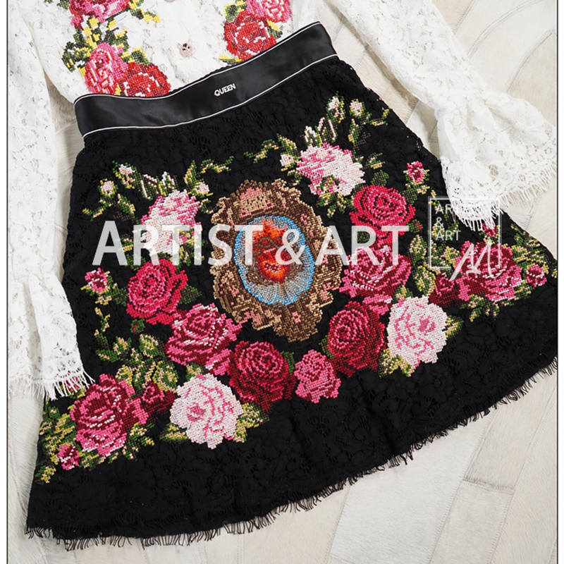 Svoryxiu High End Custom Lace Skirts Women's Vintage Baroque Rose Embroidery Empire Mini Half Skirt Runway