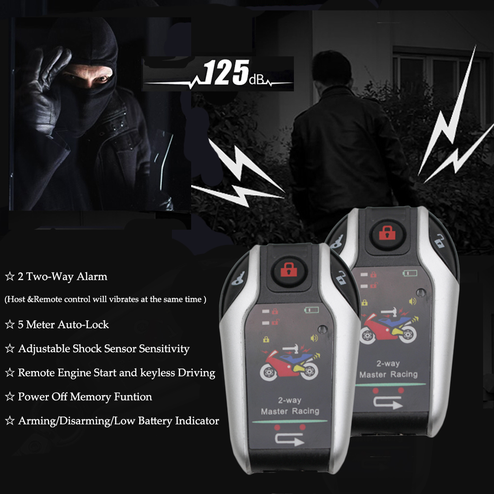 2 Two Way Motorcycle Alarm Device Anti-theft System Scooter Burglary Vibration Alarm Remote Engine Start 5meter Auto-lock2 Two Way Motorcycle Alarm Device Anti-theft System Scooter Burglary Vibration Alarm Remote Engine Start 5meter Auto-lock