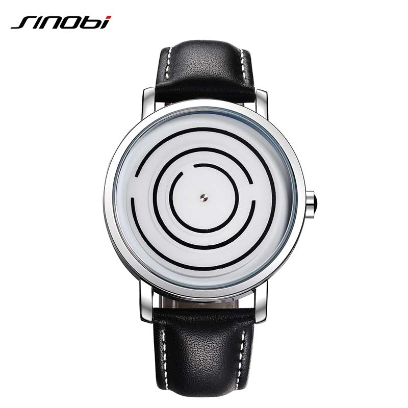 SINOBI 2017 New arrivals Mens Watches Top Brand Luxury Leather Band Quartz Watch Men Fashion Casual Relogio Masculino Maze style