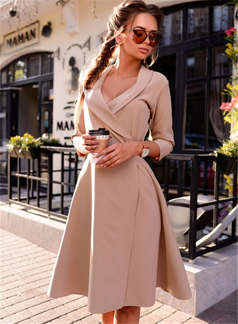 Fall 2017 Fashion Women Office Dress Autumn Winter Vintage
