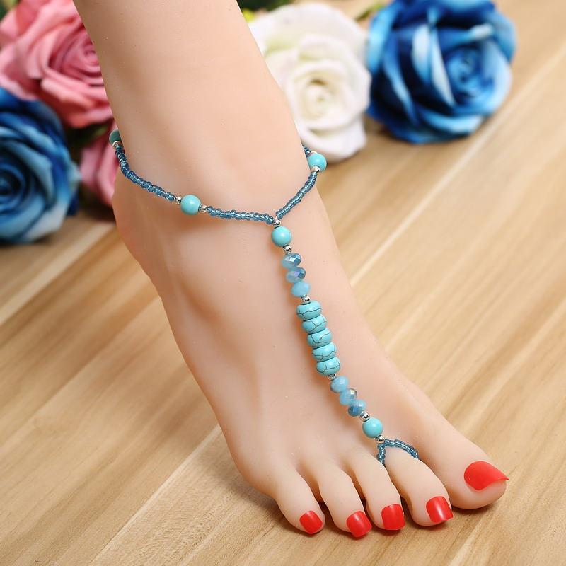 ZOSHI 2017 Ankle Bracelet Wedding Barefoot Sandals Beach Foot Jewelry Sexy Pie Leg Chain Female Boho SimulatedTurquoise Anklet