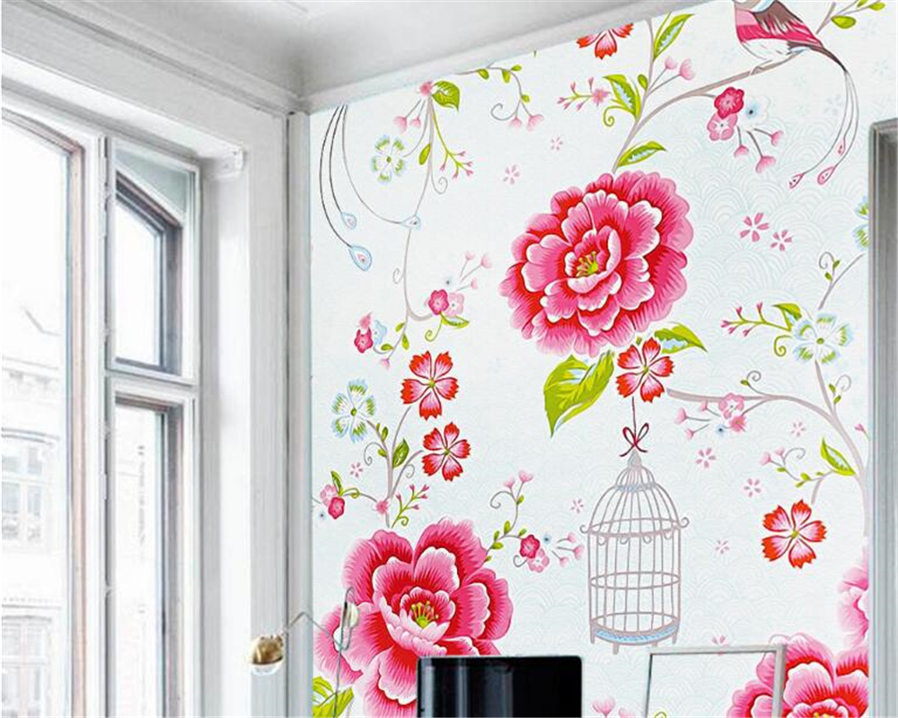 beibehang wall paper European classic beautiful wallpaper retro bird peony rose hand painted oil painting entrance 3d wallpaper beibehang custom 3d wallpapers hand painted retro nostalgic abstract oil painting flowers landscape european style wallpaper
