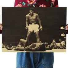 Bóxer Muhammad Ali papel Kraft clásico película cartel mapa Hogar Escuela Oficina Decoración arte Retro carteles e impresiones