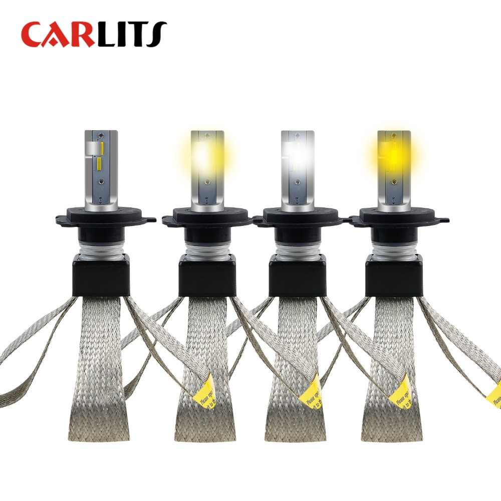 CARLITS H4 Dual Colors LED Car Headlights H7 H1 H11 9005 9006 3000K 4300K 6500K In One Lamp For Cars Led Bulb 12V 60W 2pcs