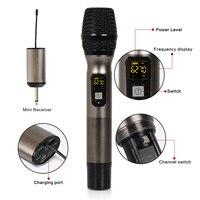 UHF dynamiczny mikrofon bezprzewodowy z Mini przenośny odbiornik dla kościoła/domu/Karaoke/spotkanie biznesowe w Mikrofony od Elektronika użytkowa na
