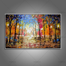 professional Artist Hand-painted Modern knife street landscape Oil Painting On Canvas modern Paintings wall art Decoration