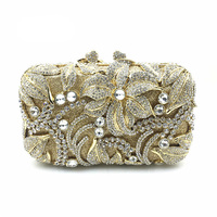 Best Selling High Quality Diamond Crystal Diamond Clutch Evening Bag Bride Banquet Hollow Flowers Banquet Bag