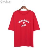 Qlychee Strawberry Milk Letter Print T Shirt Women Summer Short Sleeve O Neck Cotton Tees Red