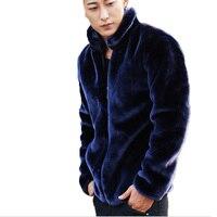 Mink Mens Fur Coats Winter Faux Fur Jacket Men Warm Zipper Luxury Outerwear Male Leather Jackets Clothes Dropshipping Blue Black