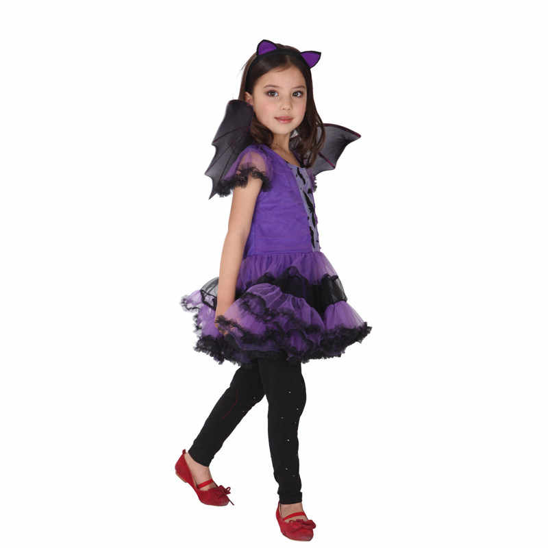 Kids Batman Batgirl Cosplay Costume For Girls With Wing Children Halloween Christmas Dance Costume