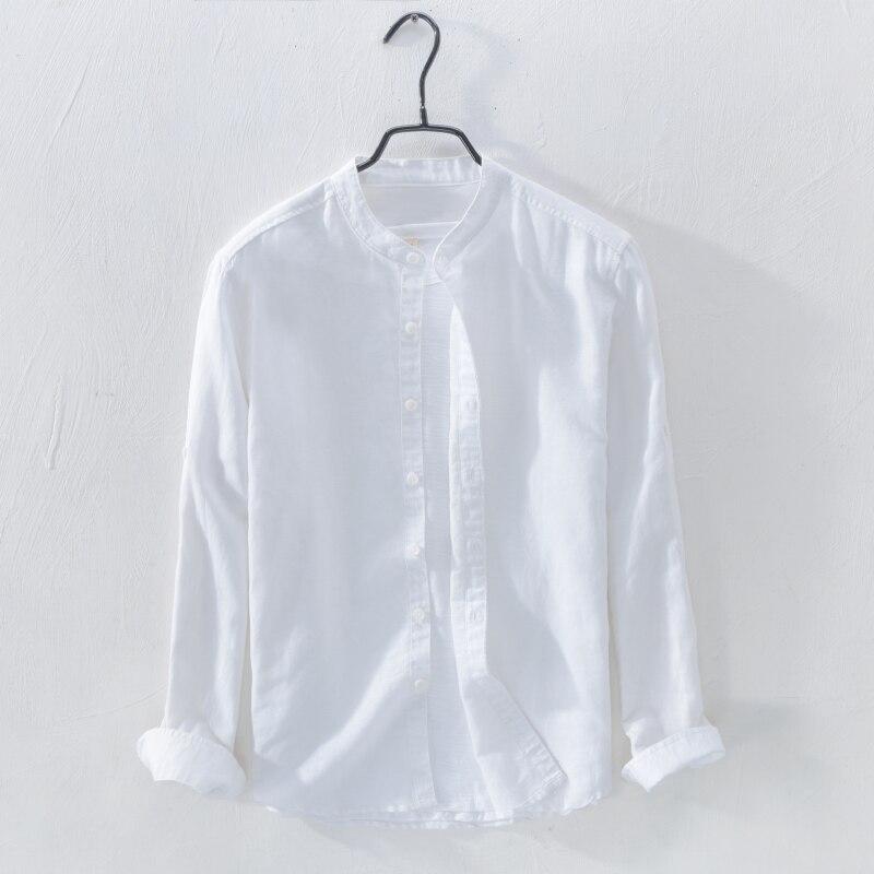 Moda Keten Erkek Casual Gömlek Slim Fit Şık Keten Elbise Gömlek - Erkek Giyim - Fotoğraf 1