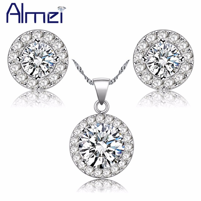Almei 49% Off Round Silver Color Necklace Earrings Set White Stones Wedding Jewelry Sets For Women Female Colar e Brinco JST001