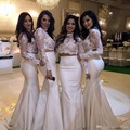 Lace Satin Two Pieces Bridesmaid Dresses 2017 Sheer Long Sleeves Chiffon Mermaid Maid Of Honor Gowns Wedding Guest Dress