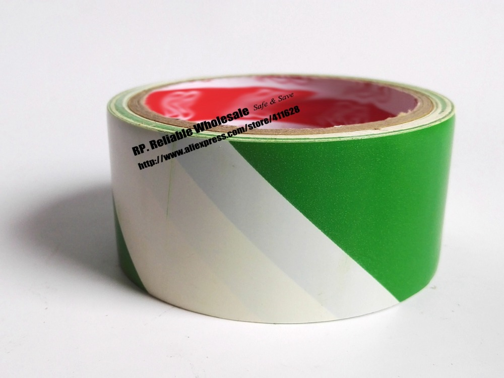 1x 4.5cm * 18M Floor Warning Adhesive Tape /Work Area Caution Tape / Ground Attention Tape Abrasion-Proof Green/White