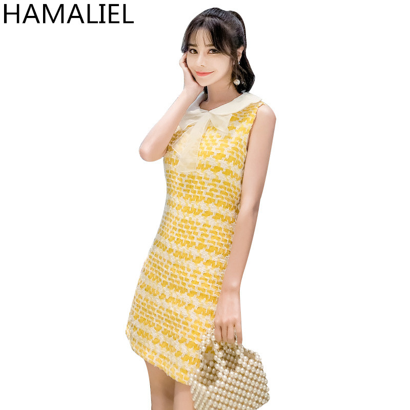 HAMALIEL High Quality Womem A Line Dress 2018 Summer Runway Sleeveless Yellow Plaid Tweed Bow Casual Peter Pan Collar Dresses ...