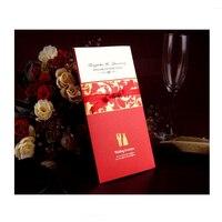 New 50pcs Pack Ribbon Printing Bride Groom Handmade Wedding Greeting Invitations Card Envelope
