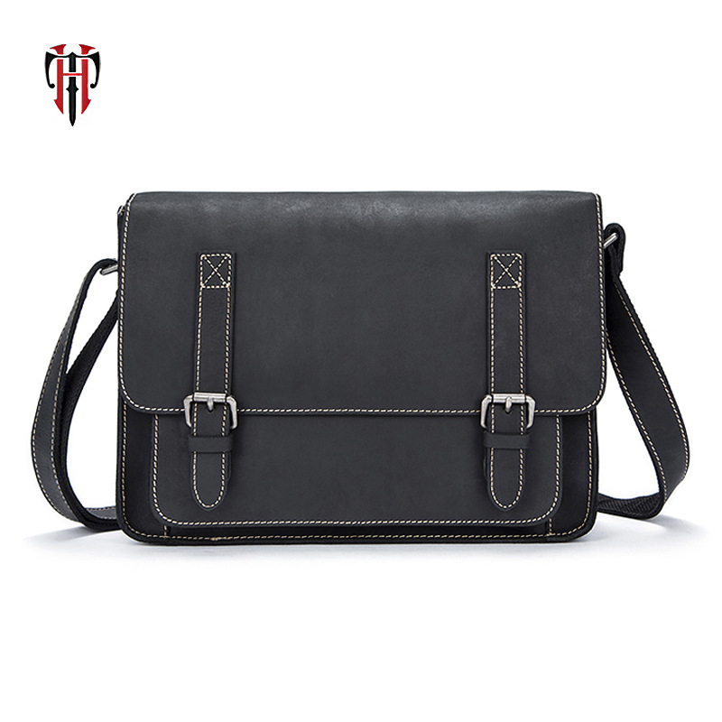 TIANHOO vintage style man bags of genuine leather cow leather men's shoulder & crossbody flap bags briefcase