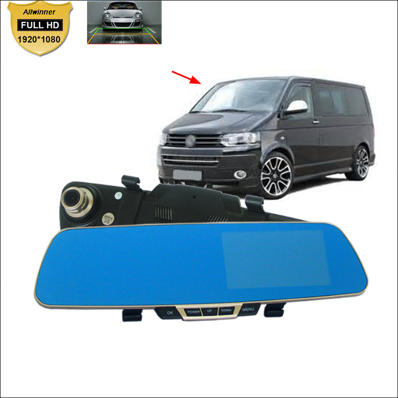 For vw Transporter t4 t5 t6 Car front Mirror DVR Blue Screen  Video Recorder Dual Cameras parking monitor Camcorder wide angle