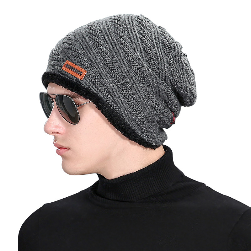 Beanie Rushed 2016 Fashion Autumn New Velvet Wool Hat Mens Winter Hats Outdoors Labeling Increase Knitting Cap Gorro Recommend gift children knitting wool hat red flower beanie cap autumn and winter hat with earflaps cn post