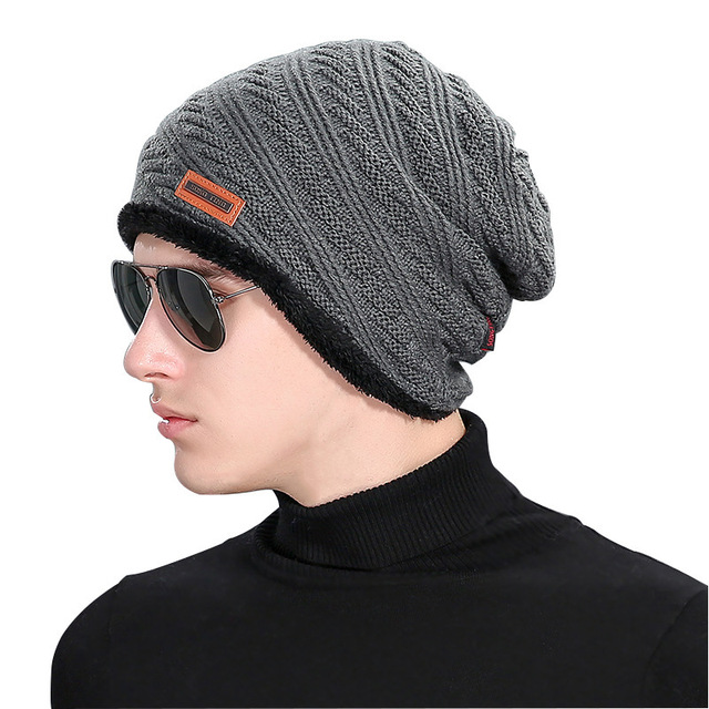 Beanie Rushed 2016 Fashion Autumn New Velvet Wool Hat Mens Winter Hats  Outdoors Labeling Increase Knitting Cap Gorro Recommend 411632d9dc9