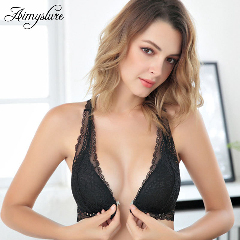Buy Sexy Front Closure Lace Bra Set Woman Wire Free Deep V Lingerie Set Lace Backless Underwear Set Lady Plungle Brassiere Set