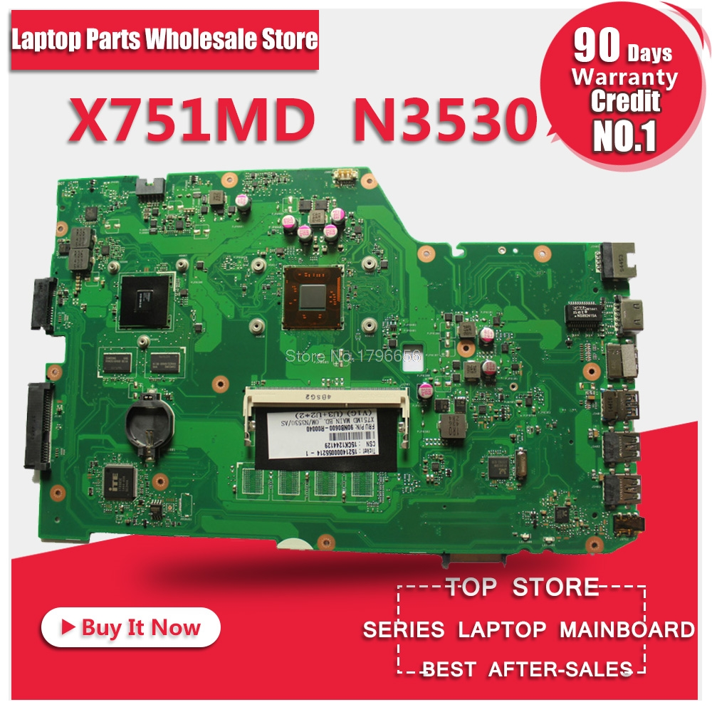 SAMXINNO For ASUS X751MD rev2.0 laptop motherboard with N3530 CPU onboard