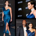 2015 royal blue Kim kardashian sexy mermaid tea length evening dress celebrity dress HY45698 for special occasions