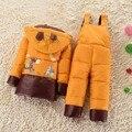 НОВЫЙ 2016 зима детская одежда устанавливает утка пуховик наборы брюки-куртка с капюшоном новорожденных девочек зимняя куртка и пальто Пони шаблон 3 Т