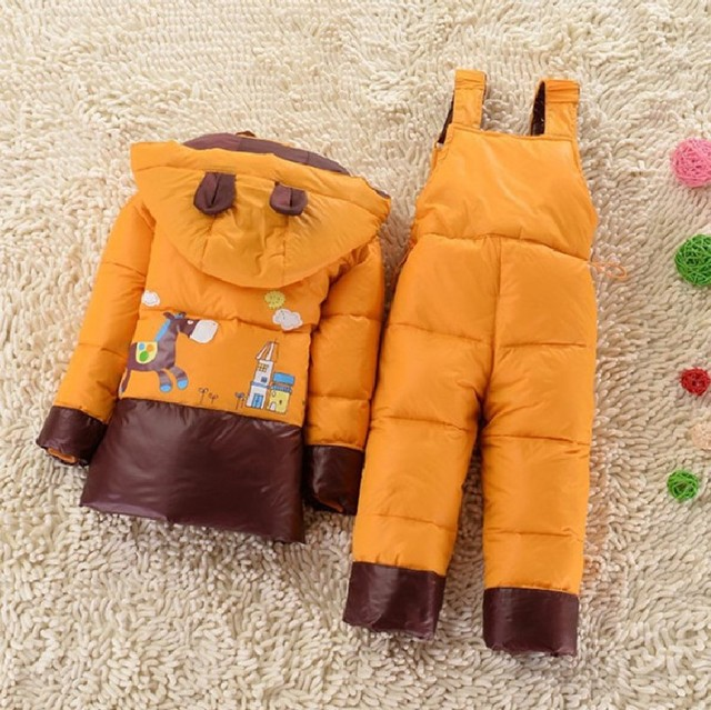 NEW 2016 winter children clothing sets duck down jacket sets pants-jacket hooded baby girls winter jacket & coat Pony pattern 3T