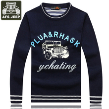 AFS JEEP Brand Men's Sweater Pullover Print Long Sleeves O-Neck Pull Homme Sweater Men Standard Wool Sweaters Pullovers Coat 3XL