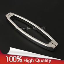 1PCS Oval Shape 304 Stainless Steel Polish Chrome Shower Door Moon Handle Bathroom Glass Door Handle CC 300/400mm JF1205 h007lr frameless bath room shower glass door square tube handle l shape with r 304 stainless steel polish chrome