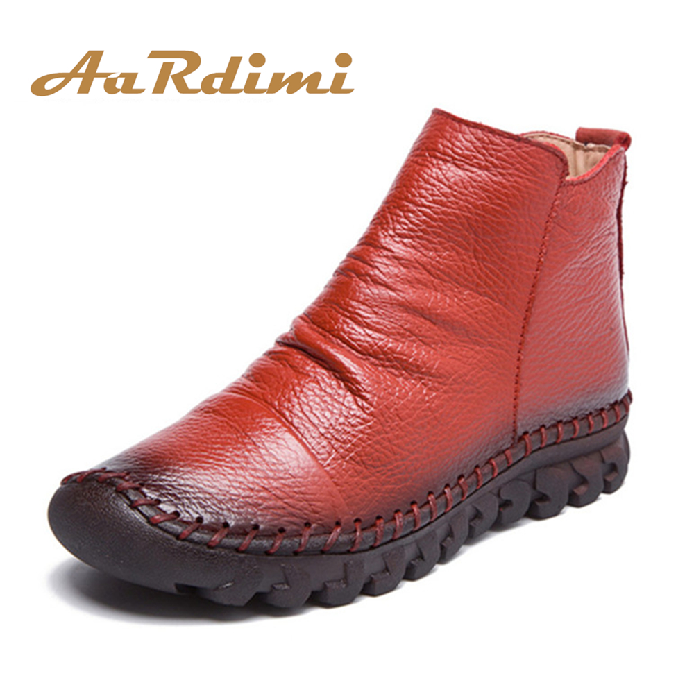 AARDIMI Designer Genuine Leather Women Boots Autumn/Winter Solid Women Martins Boots Casual Winter Shoes Flat Boots Woman