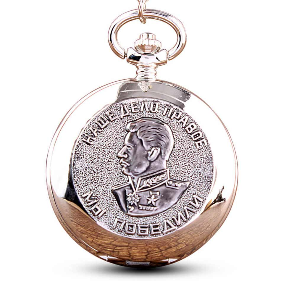 Carving Silver Stalin Pocket Watch Chains USSR Quartz Pocket Watches Necklace Pendent Clock Collections Gifts Relogio De Bolso