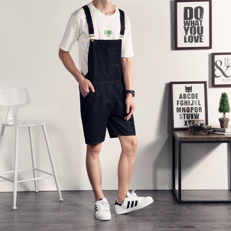 The summer male Korean washed denim font b shorts b font British suspender font b shorts
